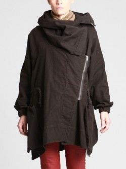 THICK COTTON MAXI-COAT WITH FLEECE LINING IN THE TOP