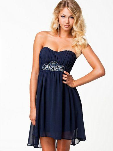 Bandeau Chiffon Dress - Elise Ryan - Navy - Party Dresses - Clothing - Women - Nelly.com