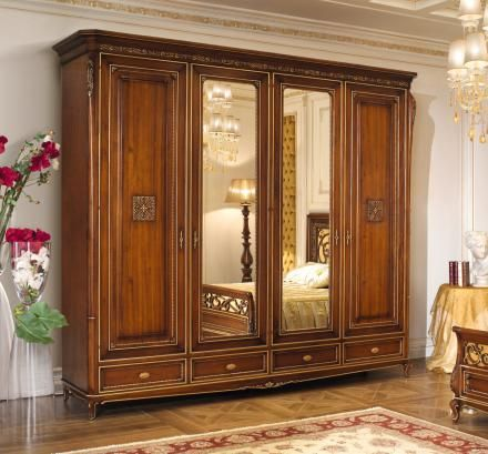 Carved wardrobes with mirror