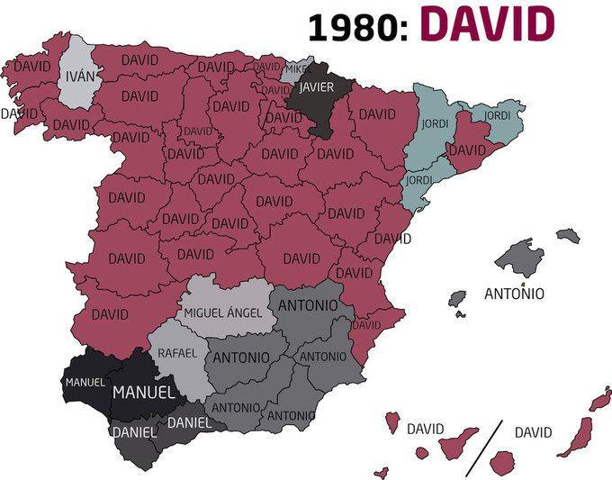 Los nombres masculinos más frecuentes en cada década del siglo XX. | 24 mapas locos que muestran España como nunca la habías visto