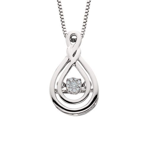"This double infinity diamond pendant is part of the Diamond Dancer collection, a line of moving diamond jewelry. The center cluster is set away from the skin so it constantly shimmy and shakes, dancing with the wearer's slightest movement. The pendant is sterling silver with .04cttw diamonds on an 18"" box chain."