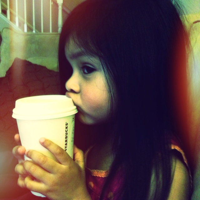 Chloe loves Starbucks :) - hot chocolate...