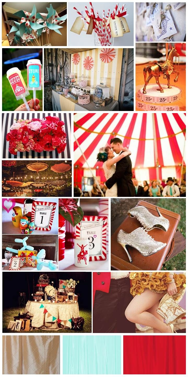 Circus inspired wedding mix  http://thesimplifiers.com/wp-content/uploads/Circus-Inspiration-Board.jpg