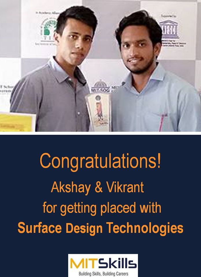 Congrats Akshay & Vikrant for getting placed with Surface Design Technology. All the best!  #MITSkills #pune #congratulations #allthebest #feelproud #studentsofmitskills  For Post Graduation Courses in Data analytics, CAD CAM, Piping Engineering  and any other Visit : www.mitskillsindia.com