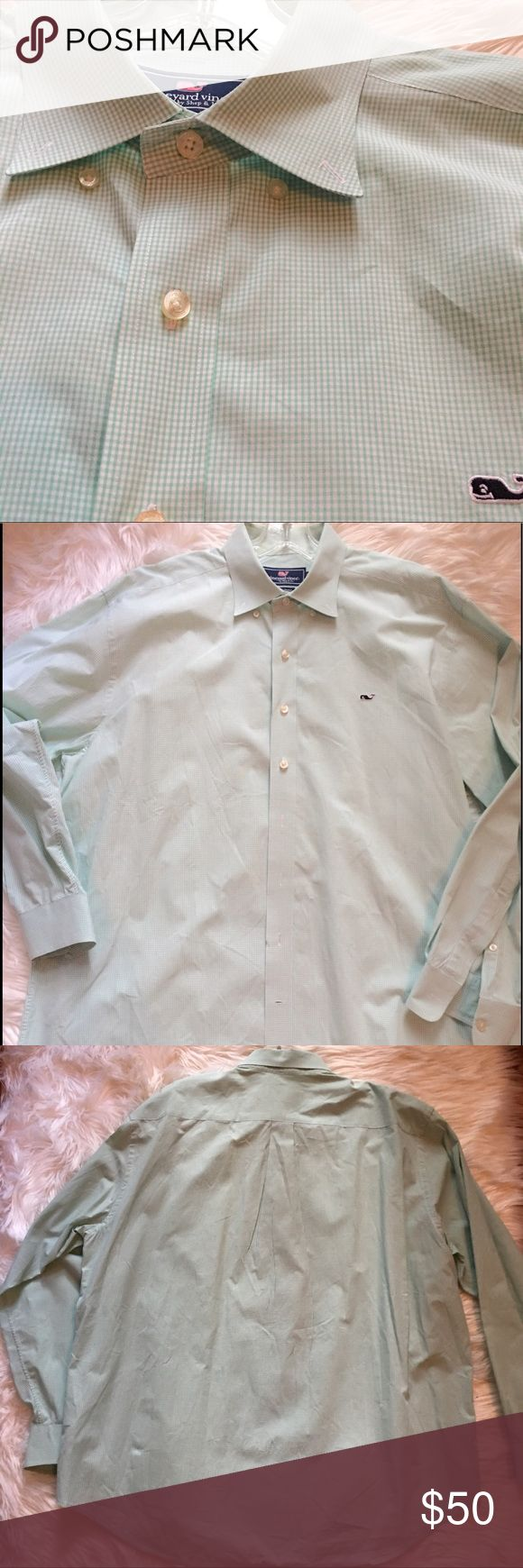 Vineyard Vines Men's Gingham Oxford Whale Shirt XL Vineyard Vines Men's Green gingham Whale shirt sz XL. This classic Style button shirt is perfect for any guys wardrobe.  Signature Whale Logo on front. 100% Cotton. Lightweight. Sku#00500170070070 Vineyard Vines Shirts Casual Button Down Shirts