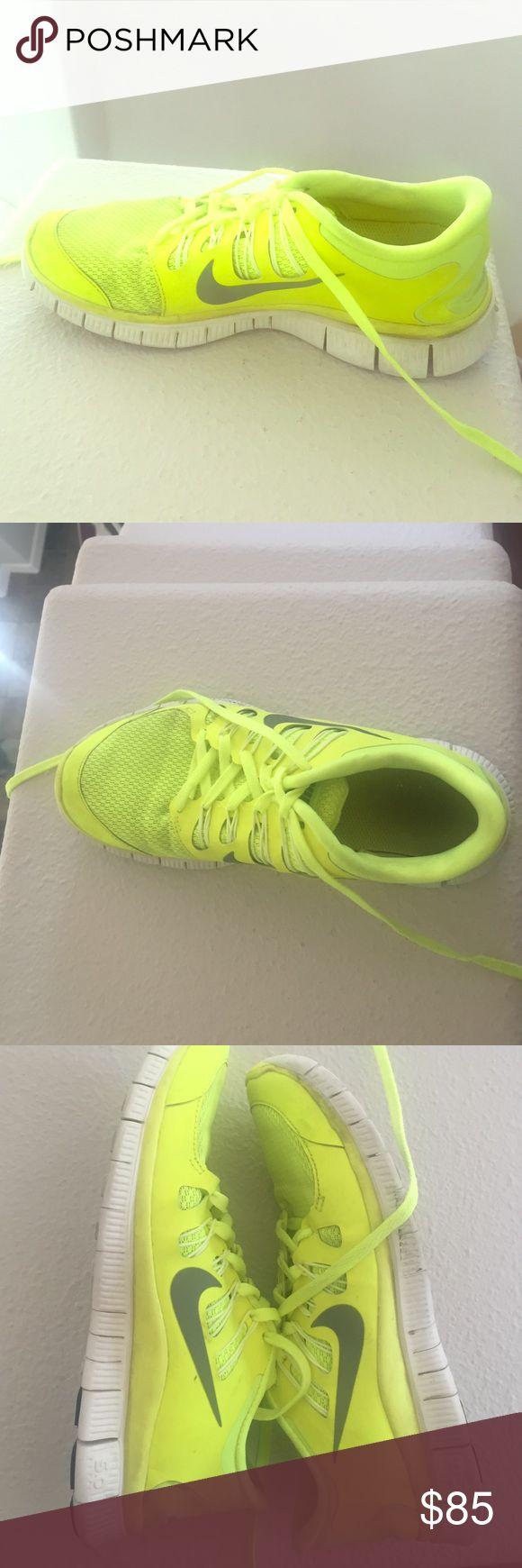 Nike free run 5.0 Neon nike free runs 5.0! Nike Shoes Athletic Shoes