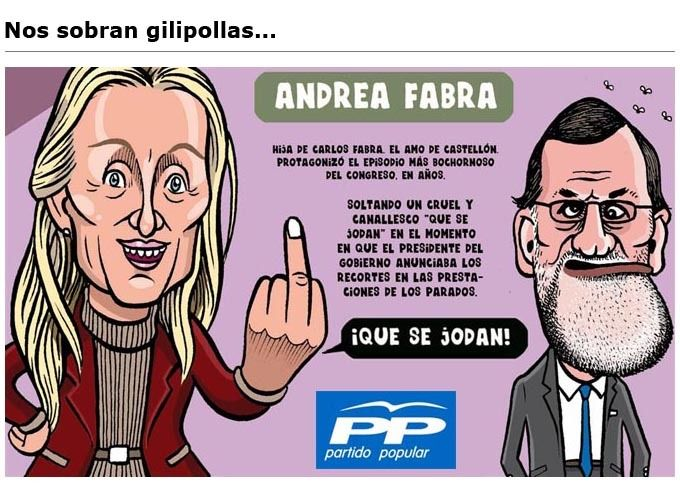 Andrea Fabra dice, que se jodan los parados http://www.eldiariohoy.es/2016/08/andrea-fabra-dice-que-se-jodan-los-parados.html?utm_source=_ob_share&utm_medium=_ob_twitter&utm_campaign=_ob_sharebar #paro #Spain #gente #Fabra #casta #pp #corrupcion #denuncia #politica