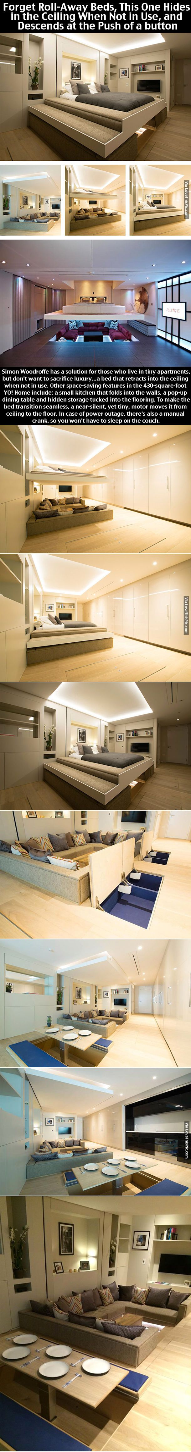 Bed Hides In The Ceiling And Decends Bedroom Home Modern Interior Design  Home Decor Home Ideas
