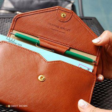 Women Men Simple Pu Leather Wallet Pen Card Holder Passport Clutch Bags - US$6.99