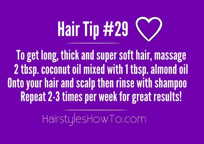 Simple trick to get super soft and thick hair is by massaging coconut oil onto your hair and scalp twice a week.
