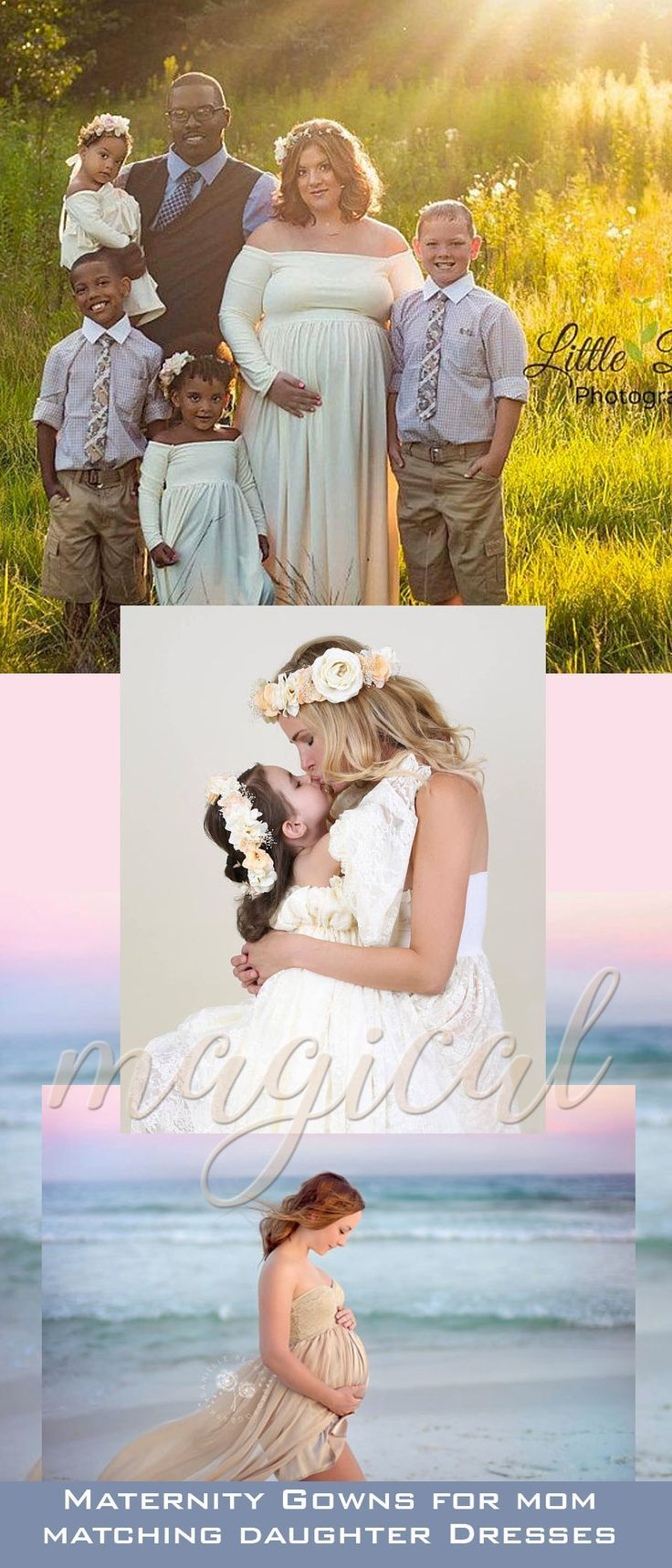 Family photos capture a precious moment ~ too soon that time is gone. These beautiful, comfortable mommy and me gowns are perfect for any special event, and for photoshoots. So many beautiful colors to choose from too. #familyphotography #dresses #maternity #daughter #maternityfashion #ad