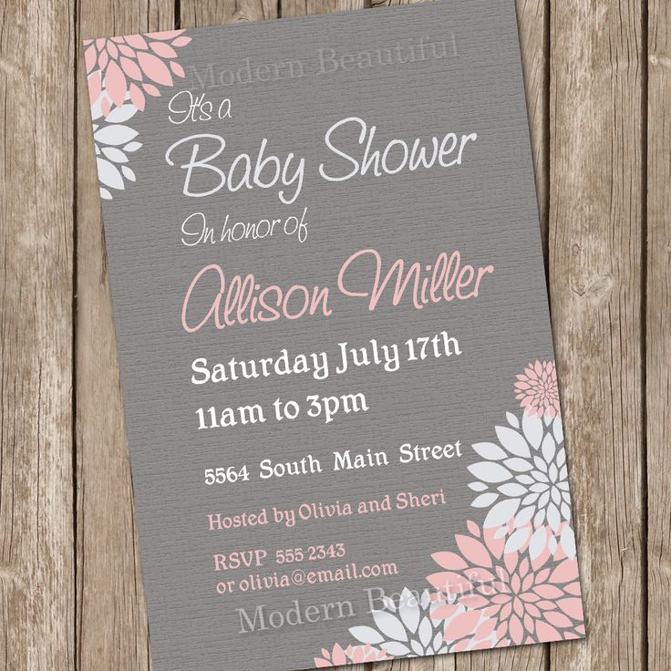 Girl Baby Shower Invitation Flower Pink and Grey Printable Personalized 20130115-K4-1. $13.00, via Etsy.