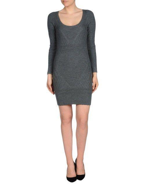 Mini γκρι πλεκτό φόρεμα
