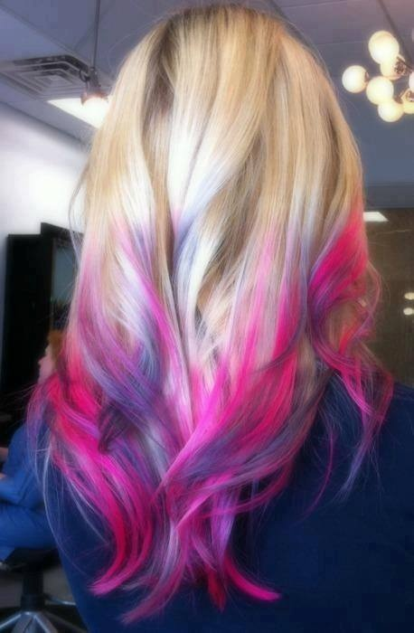Pink And Purple Highlights In Blonde Hair Best Image Of Blonde