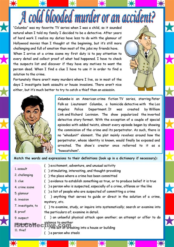 A cold blooded murder or an accident? – crime vocabulary + comprehension [4 tasks] KEYS INCLUDED ((4 pages)) ***editable