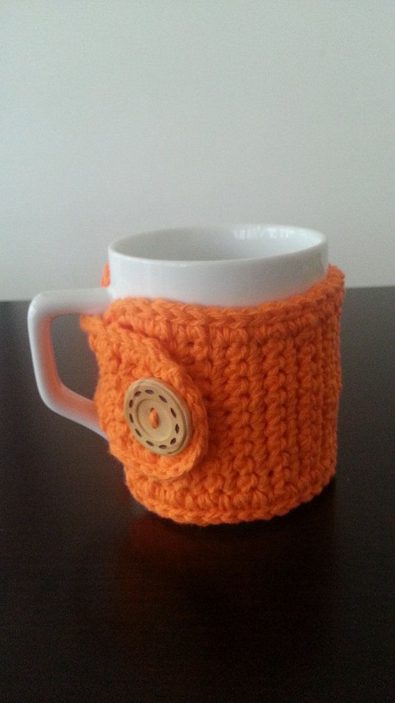 Coffee Mug Cozy in Orange Mother's Day by NandysNook on Etsy, $7.95