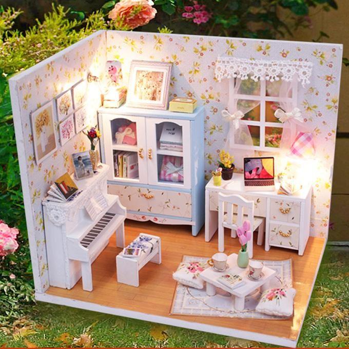 Дети игрушки кукольный домик мебель кукольный дом деревянные куклы дома миниатюрный вилла из светодиодов огни подарок мебель для кукол коляски для кукол весы напольные купить на AliExpress