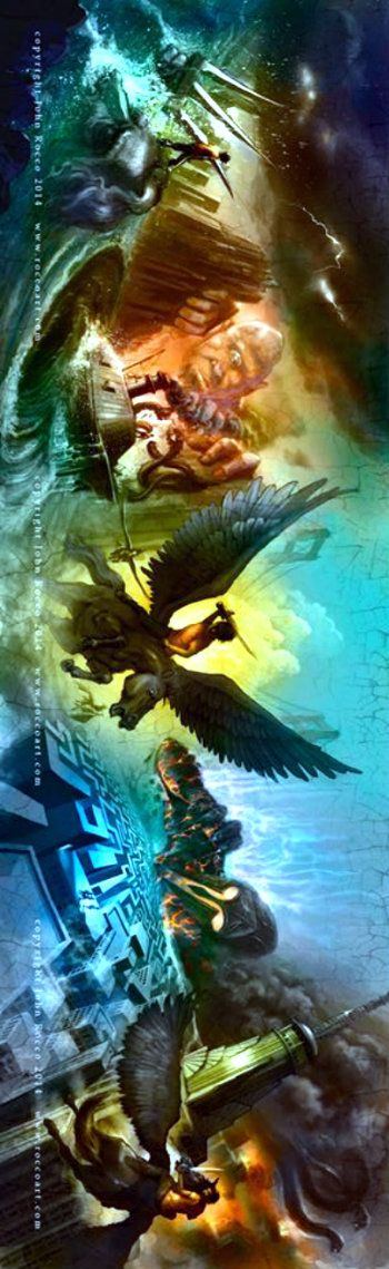 Percy and the Olympians Series New Book Cover. The Lighting Thief, The Sea of Monsters, The Titan's Curse, The Battle of the Labyrinth, and The Last Olympian.----->awwww c'mon! They're waaaaaay cooler than the originals!