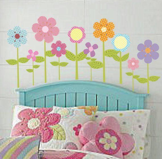Polka Dot Flower Vinyl Wall Decal Sticker Nursery by wallartdesign
