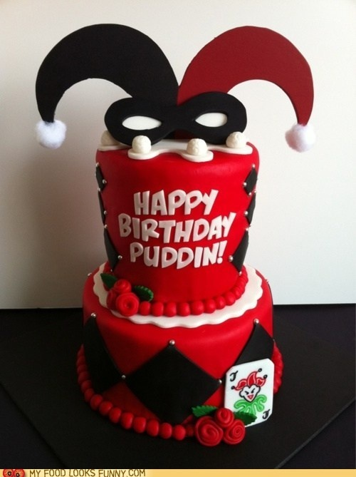 funny food photos - Harley Quinn Cake  I must have this. I would put it on display and then secretly eat it in the middle of the night