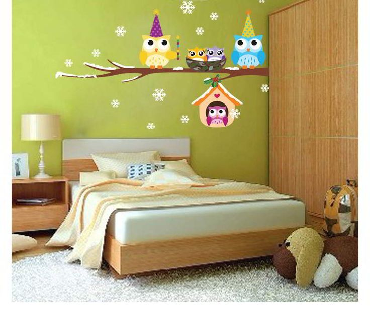 Owl Snowflake Pattern Removable Design Wall Sticker Multicolor. Fashionable with passion REPIN if you like it.😍 Only 45.5 IDR