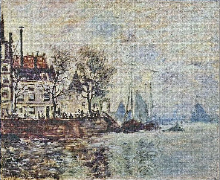 W 303b not catalogued Claude Monet View of Amsterdam (Dutch landscape) [1871] Hiroshima MA - pics  This painting - not catalogued by Daniel Wildenstein in his first issue - shows the same point of view like painting W 303, only a smaller section.