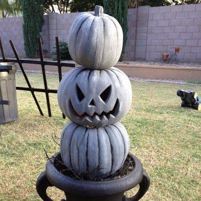 DIY:: 3 inexpensive plastic pumpkins painted to look like stone