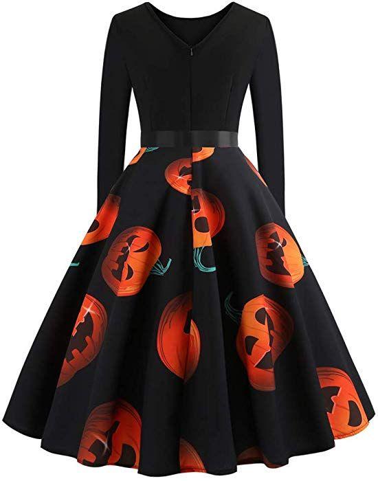 VPASS Fashion Halloween Dress Women Vintage Printing Boho