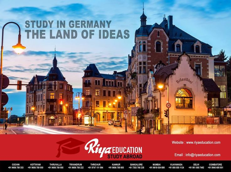 Abroad Education in Germany - Germany is called the land of ideas!!!!! The best place to study. Students who wish to study in Germany get in touch with Riya Education.  #europe #business #master #bachelor #foreign #schengen #kottayam #kerala #india #university #college