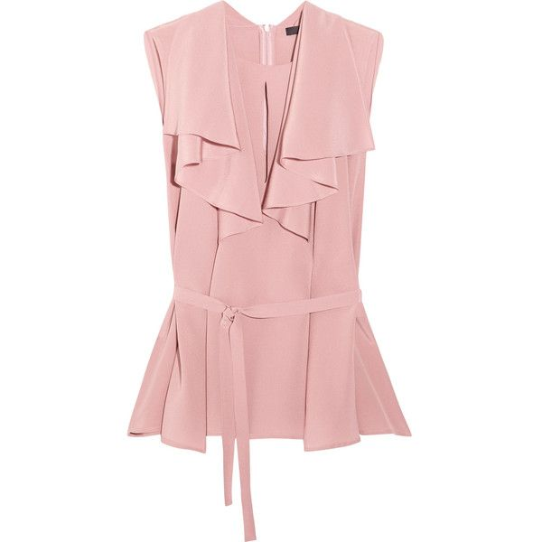 Etro Etro - Ruffled Silk Crepe De Chine Blouse - Pink (33.550 RUB) via Polyvore featuring tops, blouses, frilly blouse, silk crepe de chine blouse, frill blouse, pink ruffle blouse и flounce tops