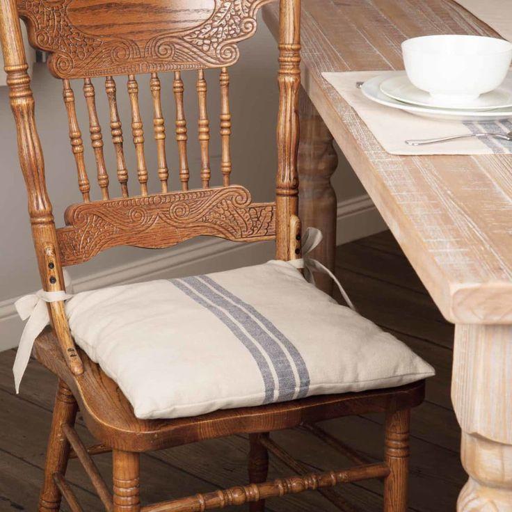Market Place Blue Grain Sack Chair Pad