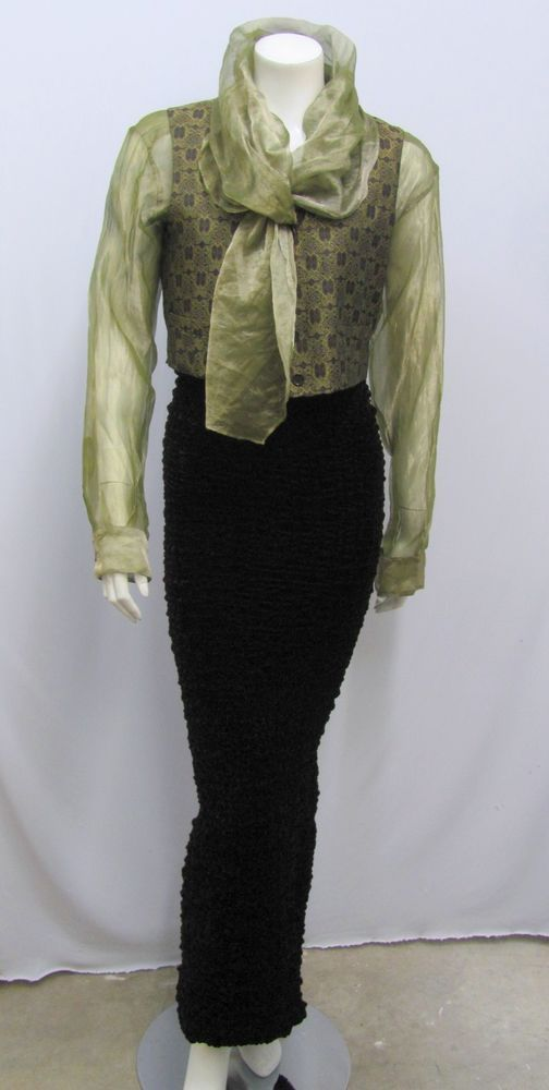 ROMEO GIGLI SET BLOUSE WITH SCARF VEST LONG PUCKERED SKIRT high style 40 44 XS S | eBay