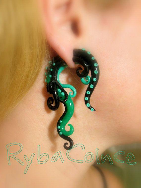 The Jade Dragon     Fake ear tentacle gauge - Faux gauge/Gauge earrings/Tentacle plug/tentacle earrings