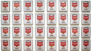 Campbell's Soup Cans _Andy Warhol (1962).   Pop art often takes as its imagery that which is currently in use in advertising. Product labeling and logos figure prominently in the imagery chosen by pop artists, like in the Campbell's Soup Cans labels.