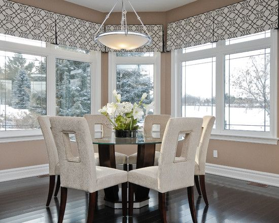 Contemporary valance ideas valance with shades up for Modern dining room window treatments