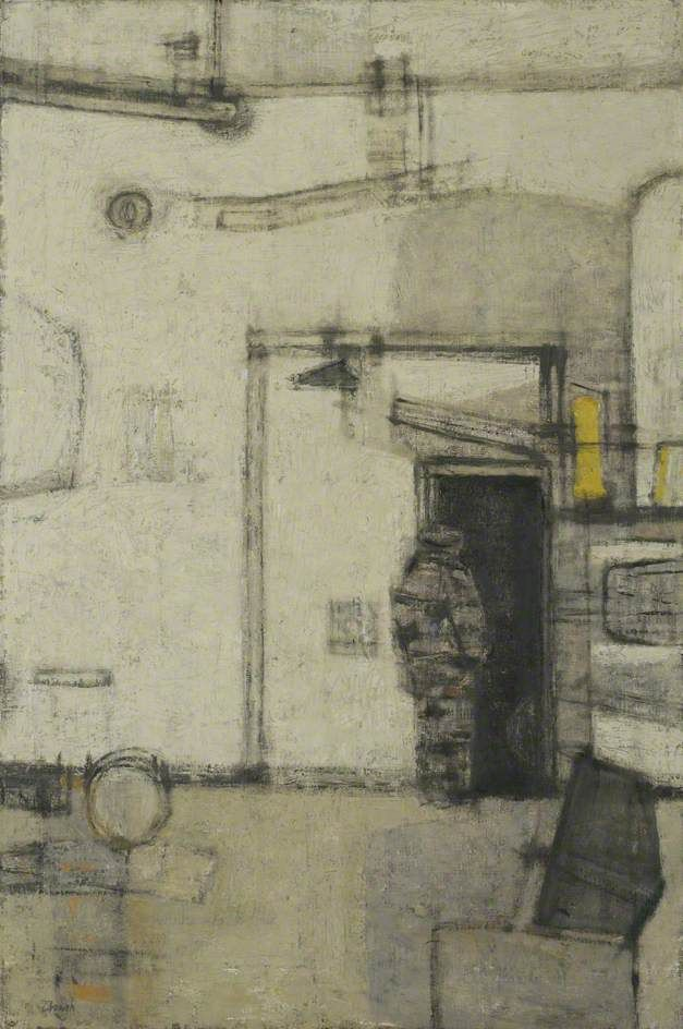 prunella clough(1919-99), man entering a boiler house, 1957. oil on canvas, 91.2 x 60.5 cm. norfolk museums & archaeology service (norwich castle museum & art gallery), uk http://www.bbc.co.uk/arts/yourpaintings/paintings/man-entering-a-boiler-house-1341
