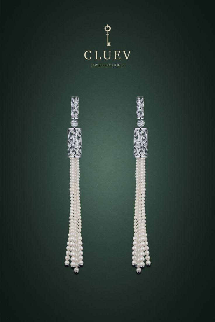 Эффектные и подвижные серьги из коллекции «Ар-Деко» от CLUEV #cluev #pearl