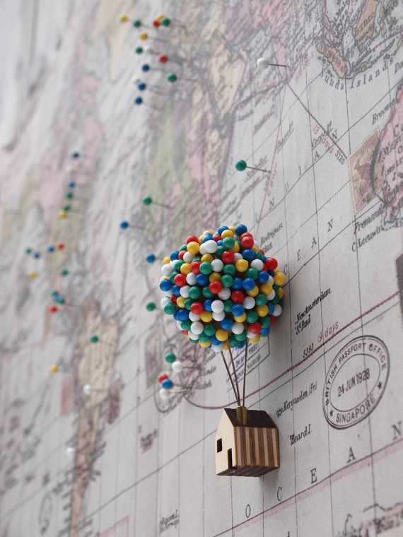 Balloon Pin House by CliveRoddy on Etsy Lovely quirky home office accessory