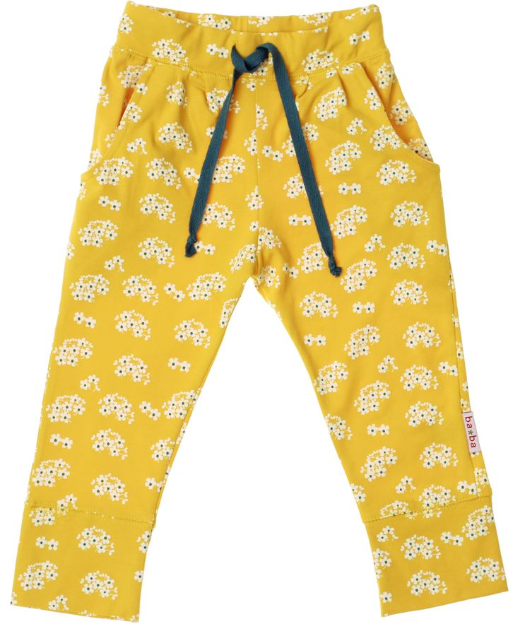 Baba Babywear super cool flower printed yellow pants. baba-babywear.en.emilea.be