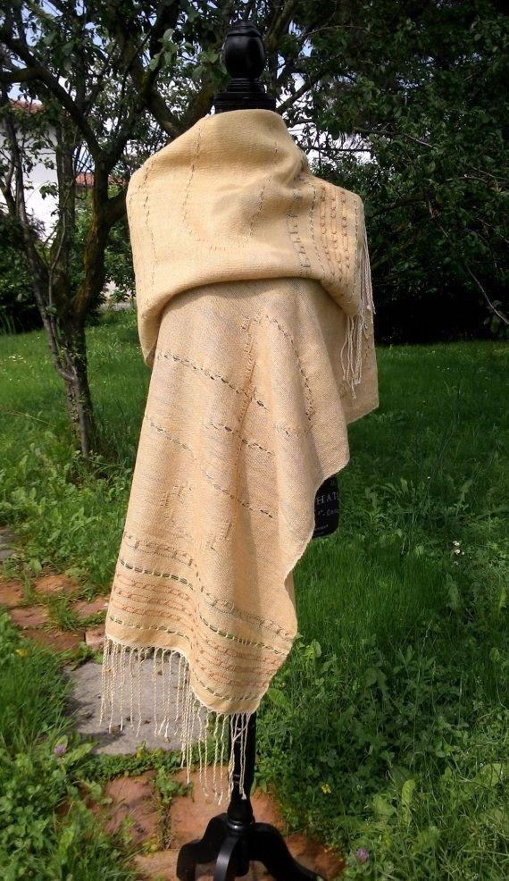 Stola ARMONIA, seta tussah e alpaca con tinture naturali e tessitura a mano