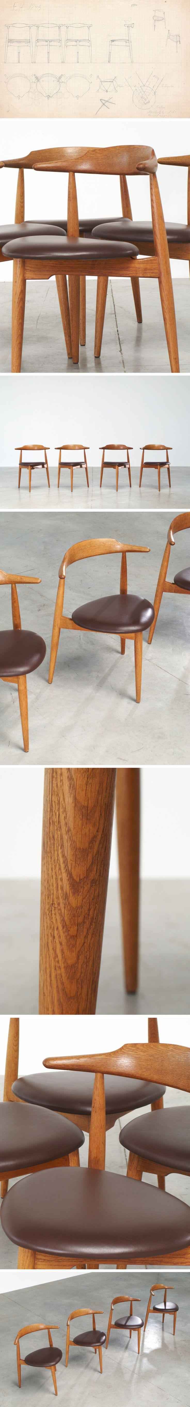 Hans Wegner set of four Heart chairs 4103 Fritz Hansen 1952 Large