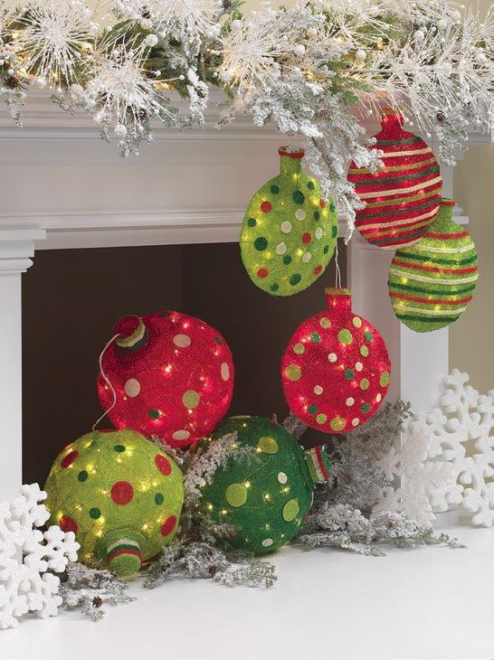 large lighted christmas ball ornaments