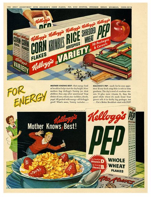 Kellogg's Pep - for energy! #vintage #1940s Interesting how the boxes do not have bright colors or images to attract kids.
