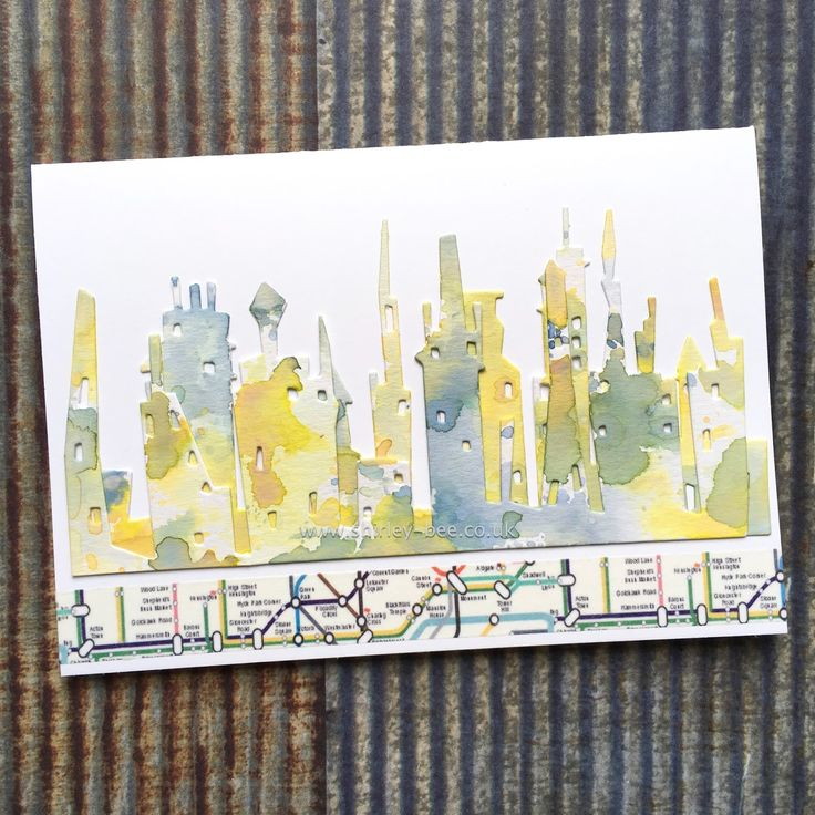Shirley-Bee: Tim Holtz Cityscape Skyline Dies; Distress Oxide Inks; Tube Washington Tape