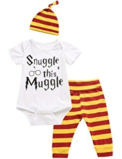 b6ed9137f iCrazy 3Pcs Outfit Set Baby Boy Girl Infant Snuggle This Muggle Rompers