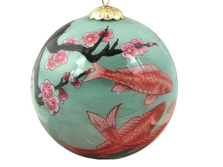 Koi and Plum Blossom Eglomise Glass Ornament