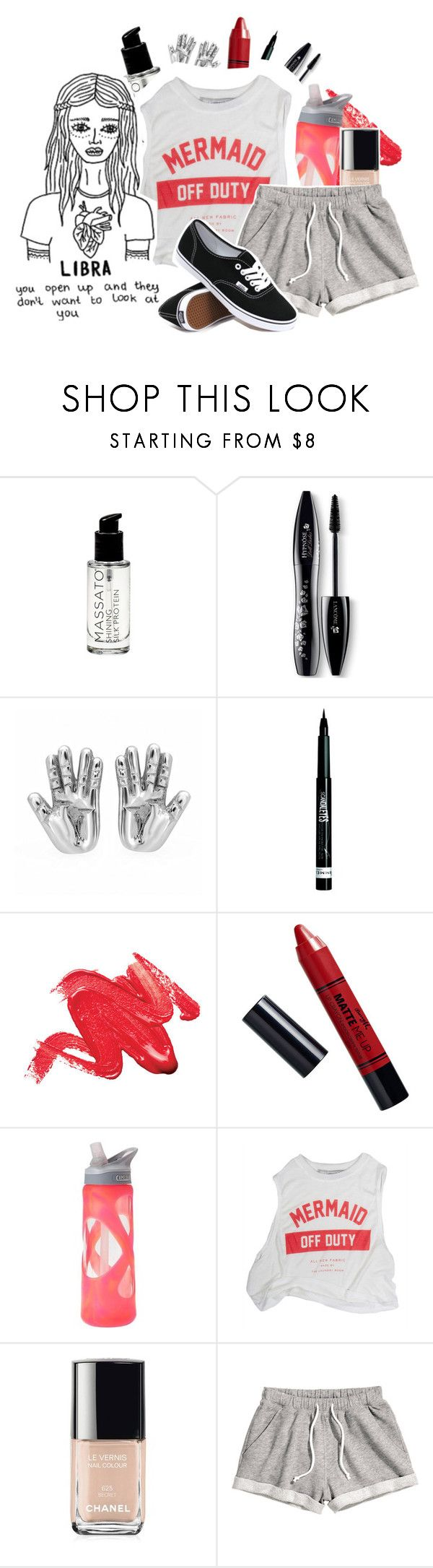 """Libra"" by northernbloom ❤ liked on Polyvore featuring Lancôme, Rimmel, Barry M, CamelBak, Chanel, H&M and Vans"