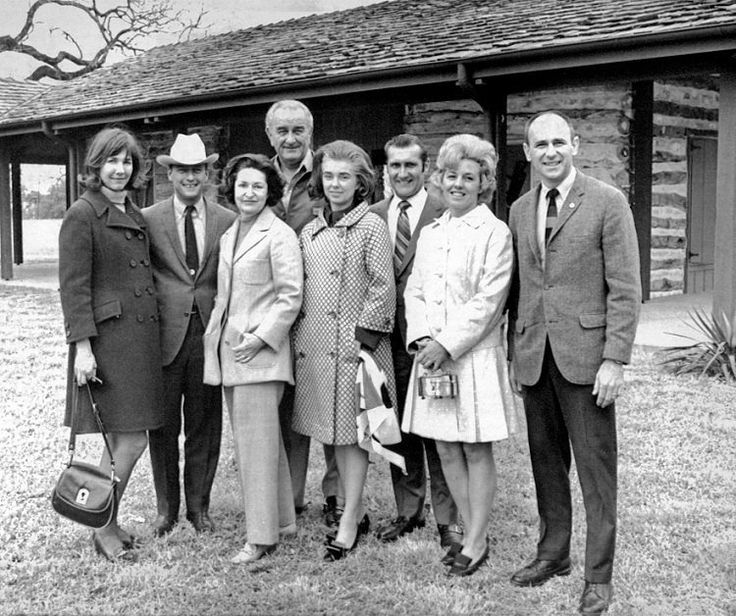Apollo 12 astronauts Pete Conrad, Dick Gordon and Alan Bean and their wives visit with President Johnson and Lady Bird. Photo taken on January 14, 1970 at the LBJ Ranch Visitors Center.