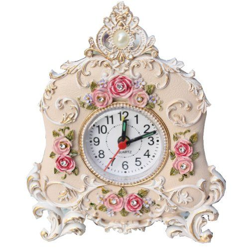 Petite Floral Table Alarm Clocks: Decorative Desk Clocks - Top-clocks.com