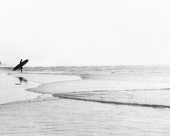 Black And White Beach Photography Surfer Wall Art by BreeMadden